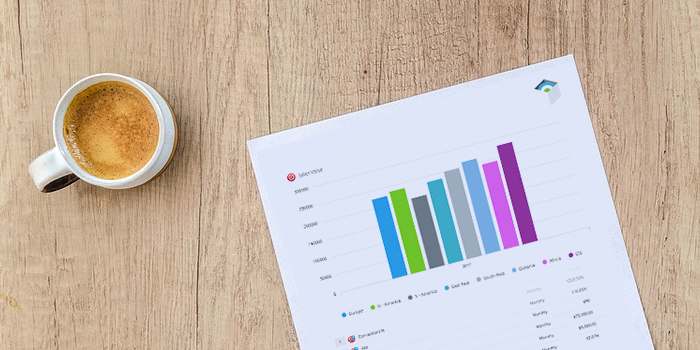 A KPI Report lying on a wooden table with a cup of coffee
